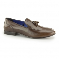 AMPTHILL Mens Leather Tassel Loafers Brown