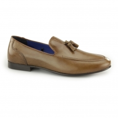 AMPTHILL Mens Leather Tassel Loafers Tan