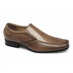 ANDOVER Mens Leather Tramline Slip On Shoes Tan