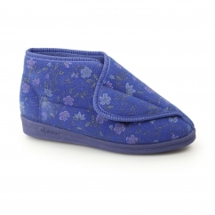ANDREA Ladies Nylon Velcro Floral Slippers Blue