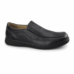 ANDREW Mens Casual Slip On Loafers Black
