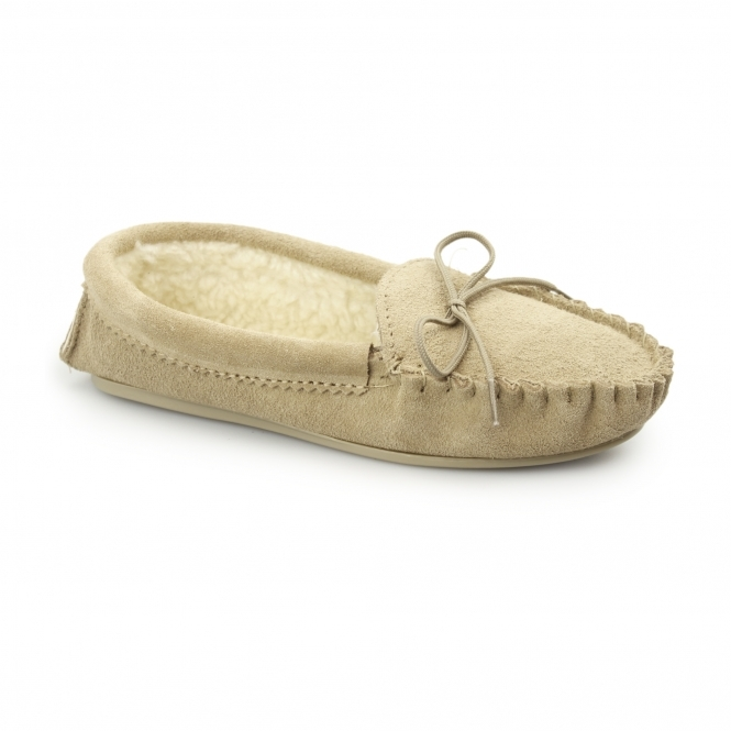 Mokkers ANGIE Ladies Suede Faux Fur Lined Moccasin Slippers Taupe