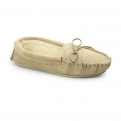 ANGIE Ladies Suede Faux Fur Lined Moccasin Slippers Taupe