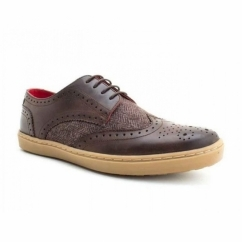 ANGLO Mens Leather Brogue Shoes Brown Tweed