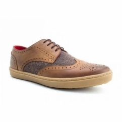 ANGLO Mens Leather Brogue Shoes Tan Tweed