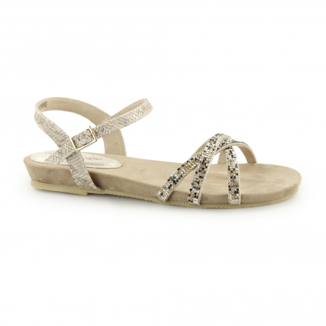 Anja Diamante Ladies Flat Sandals Gold TlJcFK1