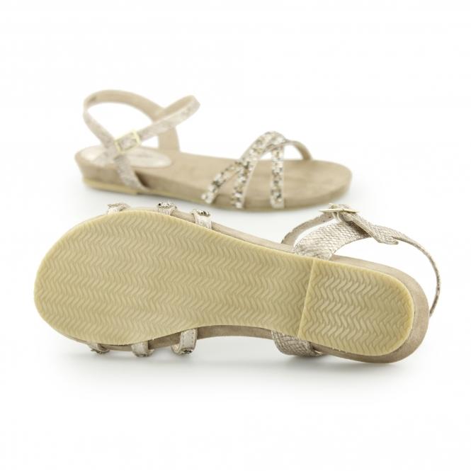 5a0e72bbd8ab ANJA Ladies Diamante Flat Sandals Gold