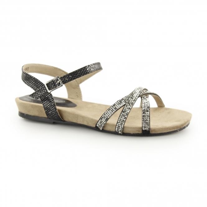 003b1a2def59 ANJA Ladies Diamante Flat Sandals Black