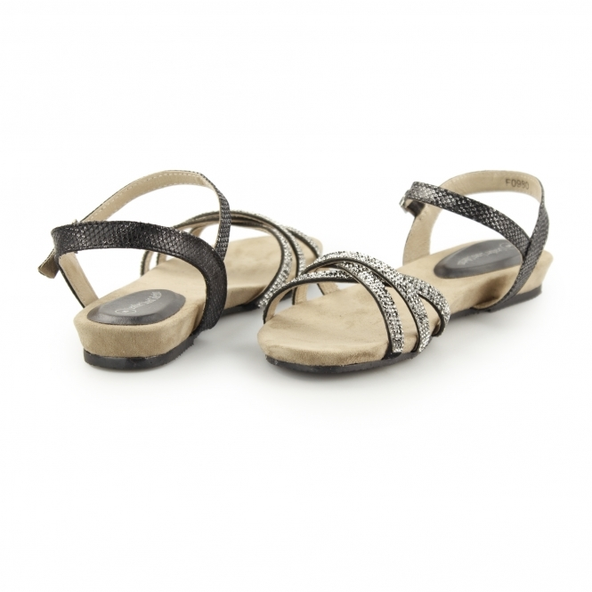 5394223a8d33 ANJA Ladies Diamante Leather Lined Flat Sandals Black