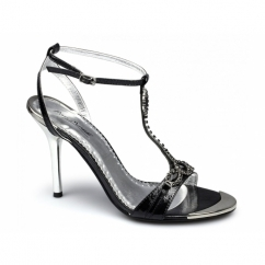 ERIN Ladies Stiletto Patent Strappy Diamante Shoes Black