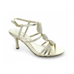 L3351XM Ladies Buckle Circle Jewelled High Heels Gold