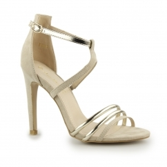 Anne Michelle LUCILE Ladies Buckle High Heel Shoes Nude/Gold