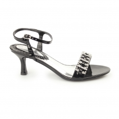 Womens Mid Heel Diamante Shoes Black