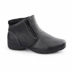 ANNIE Ladies Warm Lined Dual Zip Ankle Boots Black