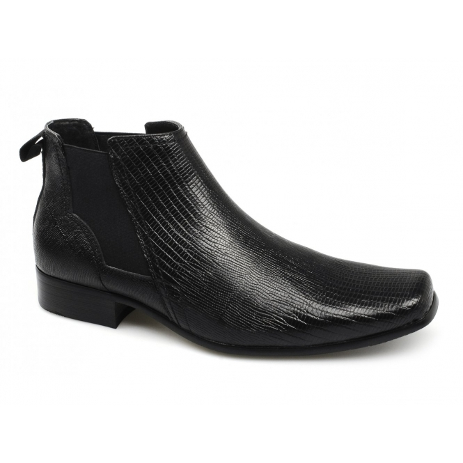 Front ANSON Mens Croc Leather Chelsea Boots Black