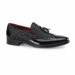 ANTONIO Mens Patent Tassle Loafer Brogues Black