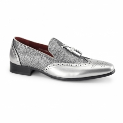 ANTONIO Mens Patent Tassle Loafer Brogues Silver