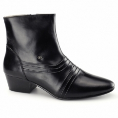 ANTONIO Mens Side Zip Cuban Heel Leather Boots Black