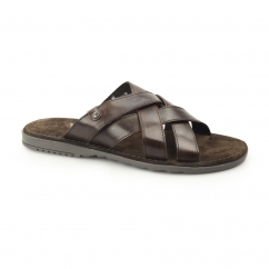 APOLLO Mens Washed Leather Mule Strappy Sandals Brown