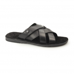 Base London APOLLO Mens Waxy Leather Mule Strappy Sandals Black
