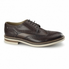 APSLEY Mens Leather Brogue Derby Shoes Brown