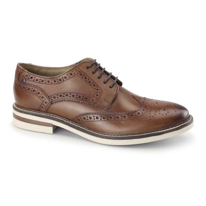 Base London APSLEY Mens Leather Brogue Derby Shoes Tan