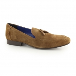 APSLEY Mens Suede Leather Tassel Loafers Tan