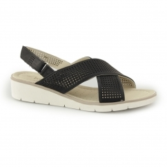 AQUARIUS Ladies Slingback Touch Fasten Sandals Black