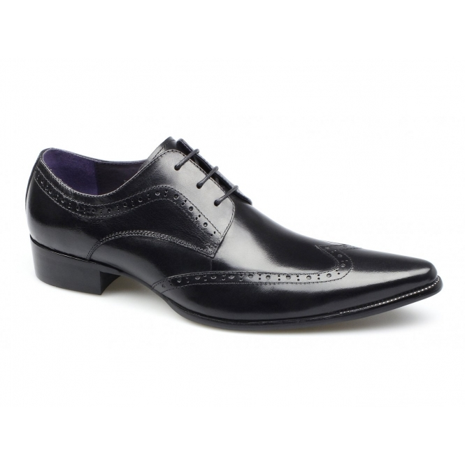 Gucinari AREZZO II Mens Leather Lace Up Cuban Heel Shoes Black