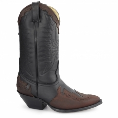 ARIZONA HI Unisex Leather Cuban Heel Cowboy Boots Black/Burgundy