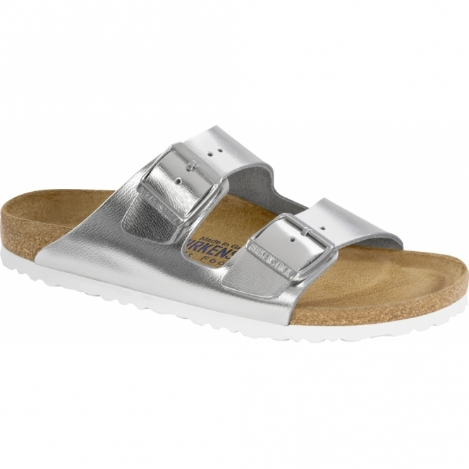 Birkenstock ARIZONA Ladies Leather Buckle Sandals Silver