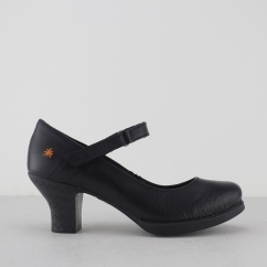 Art HARLEM Ladies Womens Leather Heeled Court Shoes Black | Shuperb