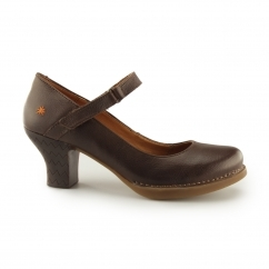 HARLEM Ladies Leather Heeled Court Shoe Memphis Brown