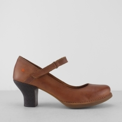 HARLEM Ladies Leather Heeled Court Shoe Memphis Tan
