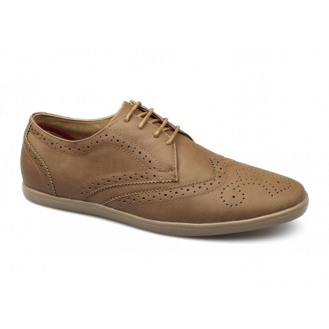 Front ASHCROFT 2 Mens Lace Up Brogue Shoes Tan