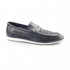 ASHLEY Mens Leather Weave Slip On Loafers Blue
