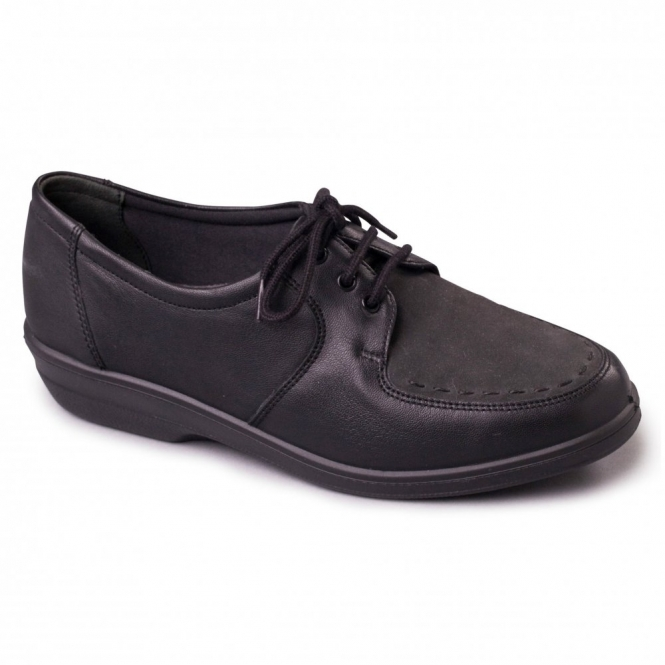 Padders ASTER Ladies Leather Nubuck Extra Wide EE Flat Shoes Black