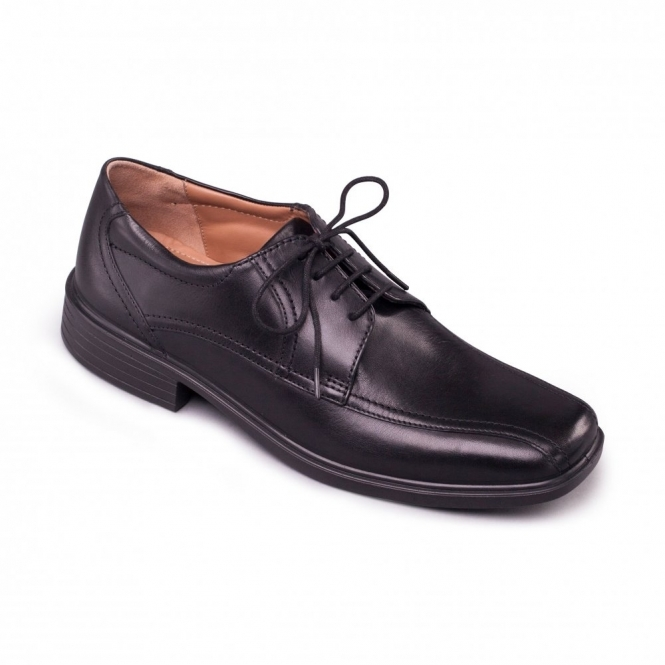 Padders ASTON Mens Leather Lace Wide Shoes Polished Black