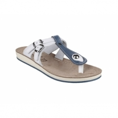 ATHENS Ladies Slip-On Toe Post Sandals Blue/White