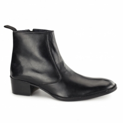 ATRANI Mens Leather Side Zip Ankle Boots Black