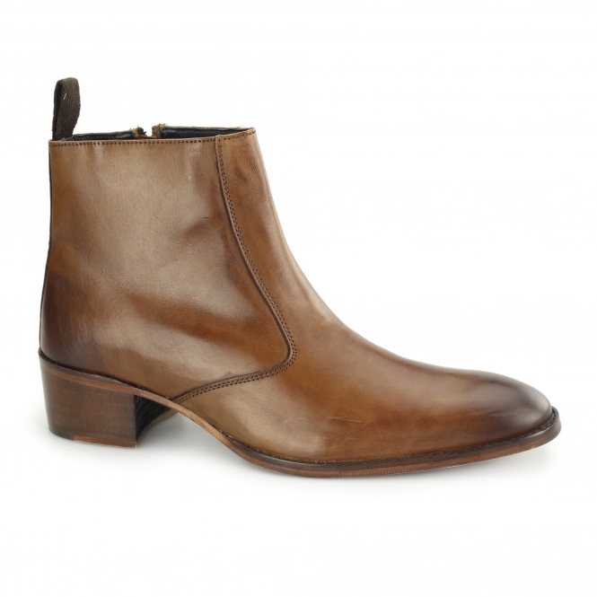 Gucinari ATRANI Mens Leather Side Zip Ankle Boots Tan