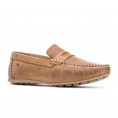Base London ATTWOOD Mens Leather Loafers Tan