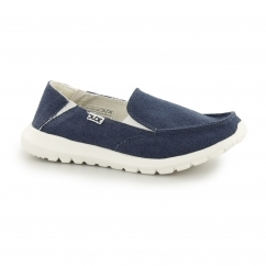 Hey Dude AVA Ladies Canvas Slip On Shoes Sea Blue