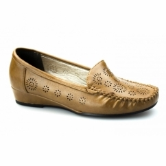 AVELINE Ladies Faux Leather Wide Fit Wedge Loafers Tan