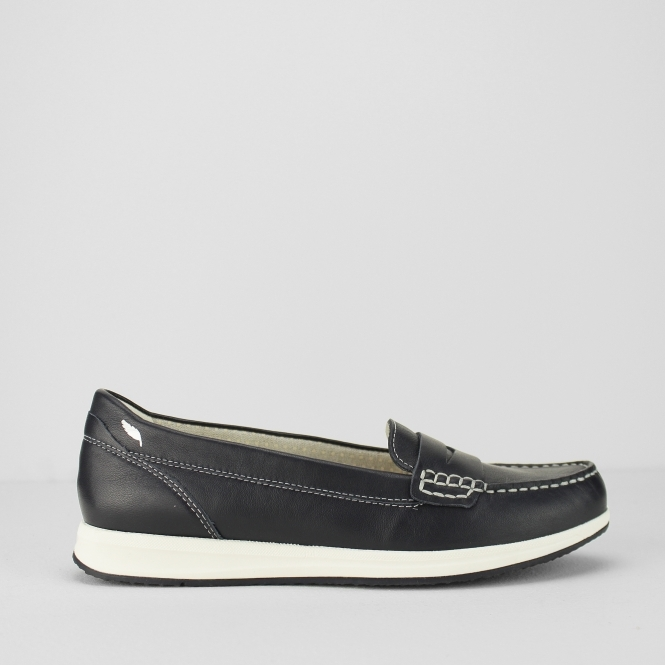 1b44dfaff2 AVERY C Ladies Leather Slip On Comfort Casual Loafers Navy