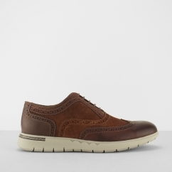 BERGAMO Mens Suede/Leather Brogue Shoes Brown