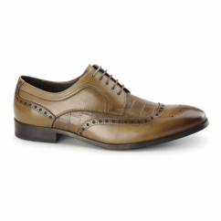 BIANCO Mens Leather Derby Brogues Tan