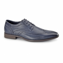 AZOR CATANIA Mens Leather Smart Derby Brogues Dark Blue