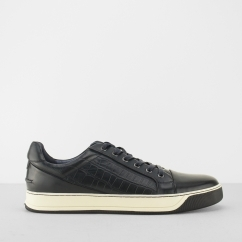 LAZIO Mens Leather Faux Reptile Trainers Navy