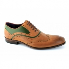 AZOR Mens Lace Up Leather Brogue Oxford Shoes Light Tan/Green